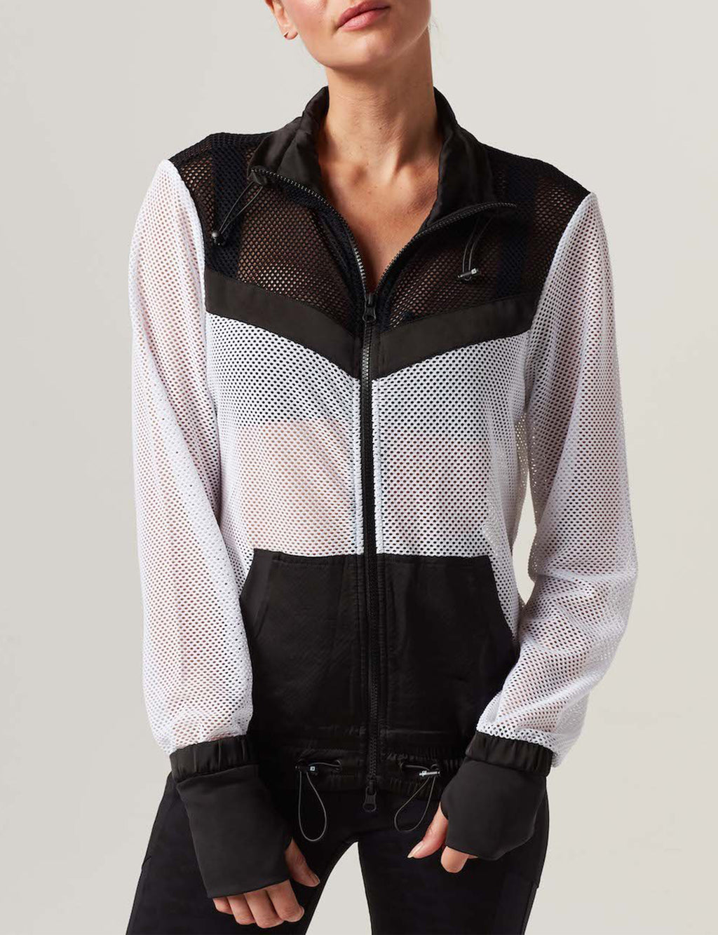 Color Blocked Alfresco Jacket in Black/White