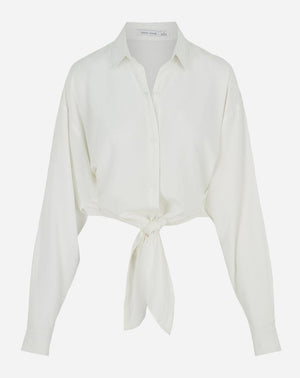 Button Front Tie Blouse in White