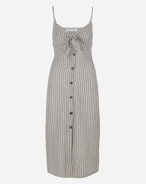 Front Tie Button Down Dress in Grey Stripe
