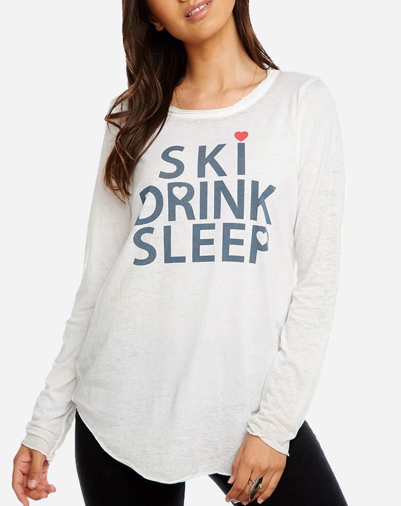 """Ski, Drink, Sleep"" in White"