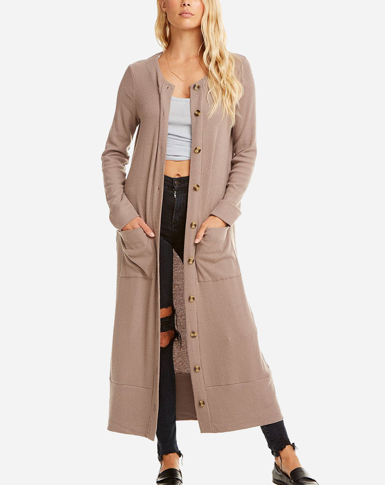 Button Front Duster in Cedar