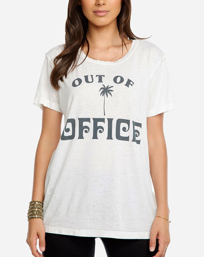 """Out Of Office"" Tee in White"