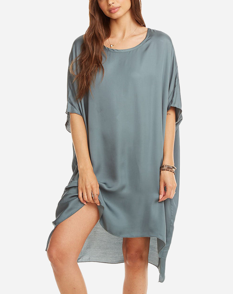Silky Oversized Shirt Dress in Succulent