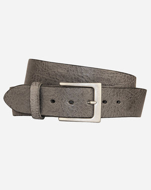 Lato Curva Leather Belt in Slate Grey