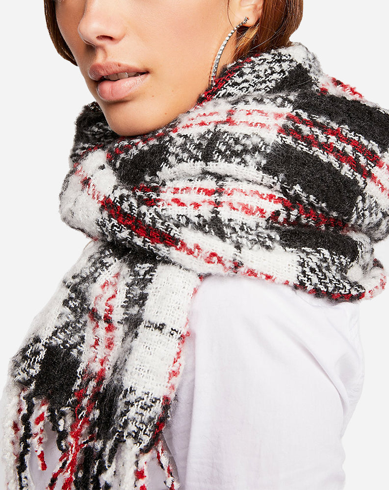 Emerson Plaid Scarf in Ivory Combo