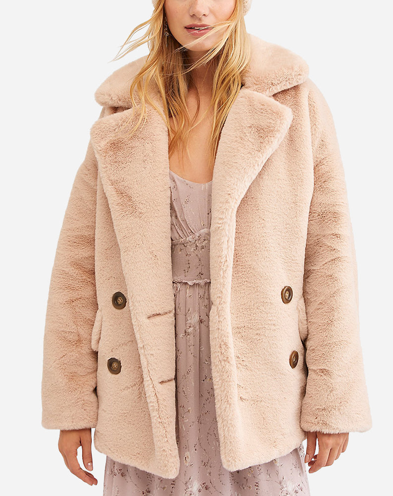 Kate Faux Fur Coat in Apricot