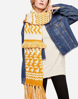 Mile High Fringe Scarf in Gold