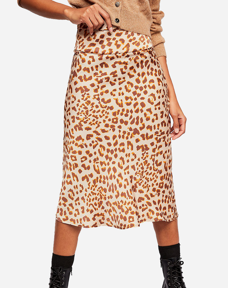 Normani Bias Printed Skirt in Brown Combo/Leopard