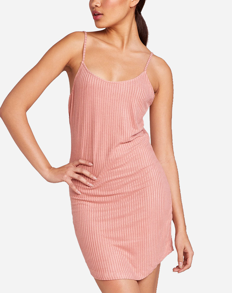 Curves Ahead Ribbed Dress in Grapefruit