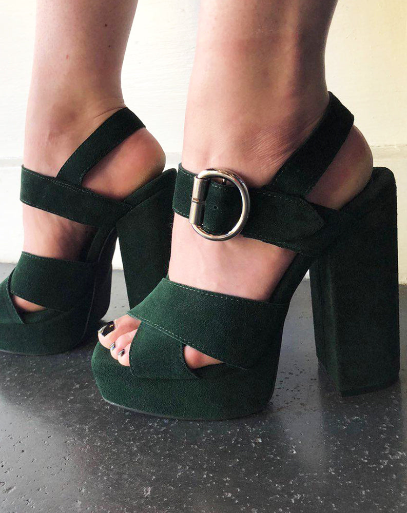 Elvina Platform Sandal in Forest Green Suede