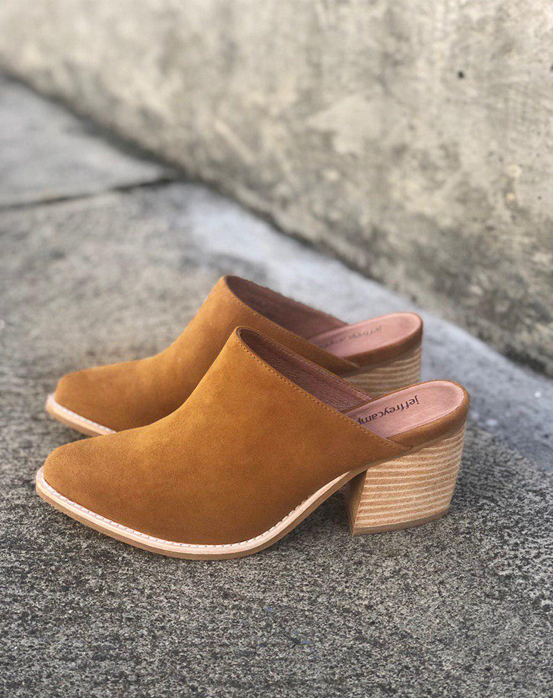 Favela Closed Toe Mule in Cognac Suede