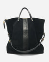 Large Morleigh Foldover Tote in Black Suede