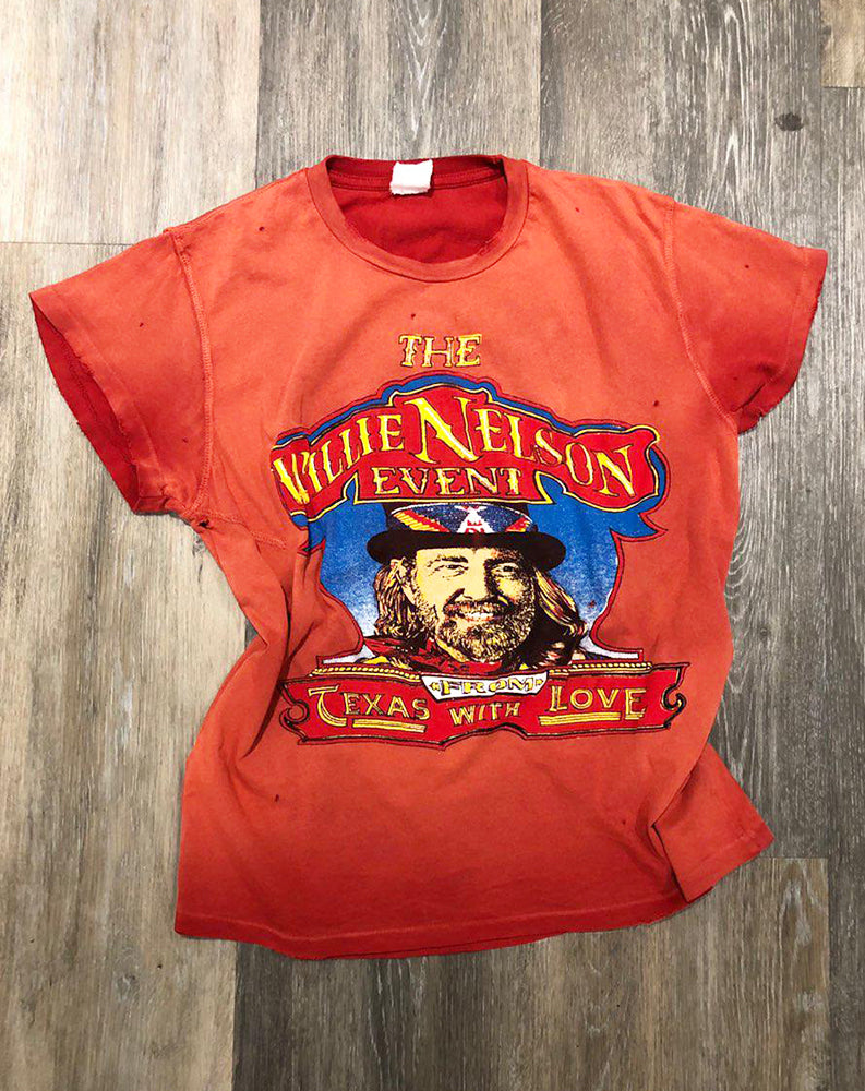 Willie Nelson From Texas With Love Crew Tee in Red