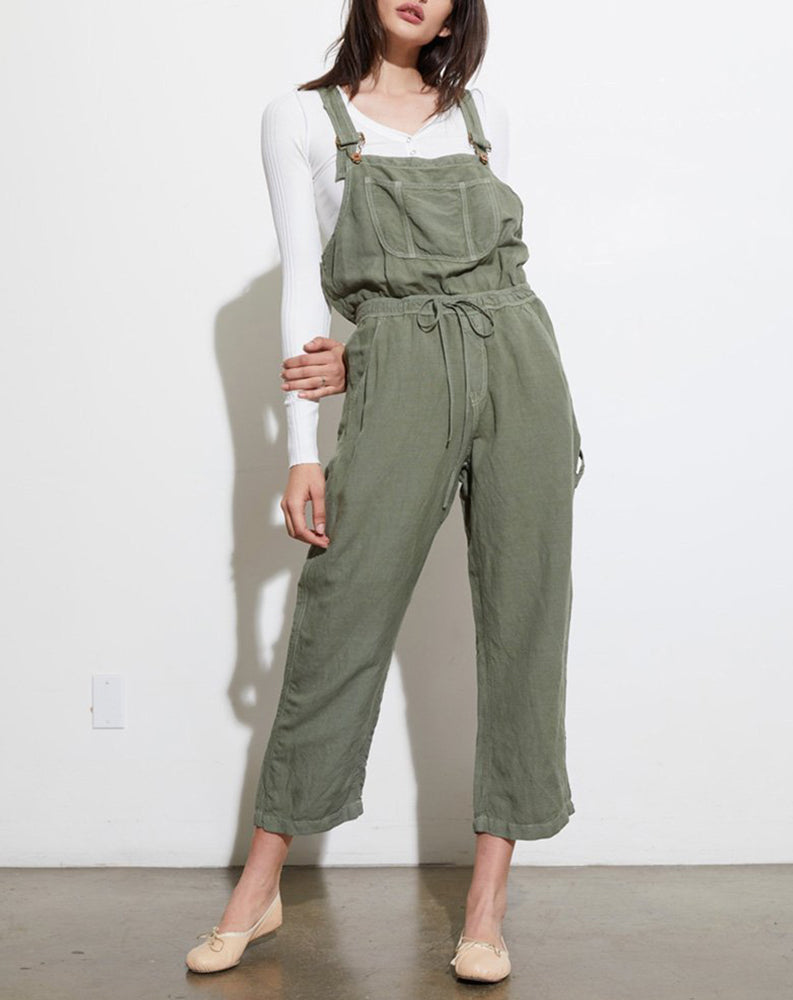 Dahlia Cinched Waist Overall in Olive