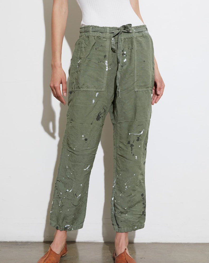 Rao Cinched Waist Pant in Olive Splatter