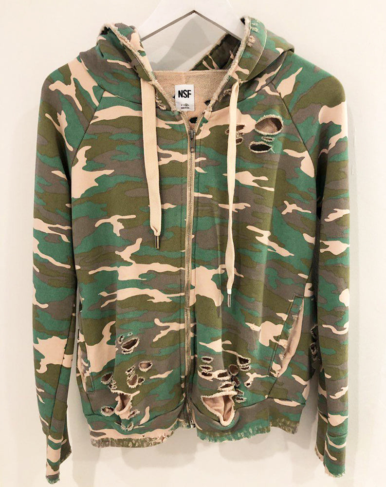 Roxie Zip Up Hoodie in Fuzz Camo