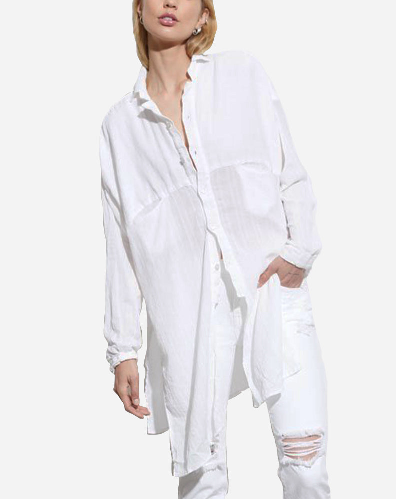 Taz Boxy Button Up in White
