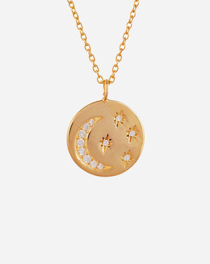Chandra Necklace in Gold Plated/CZs