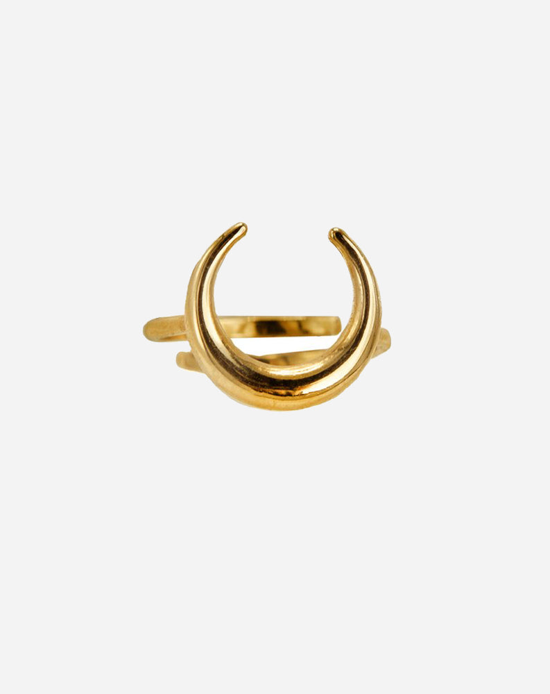 Luna Crescent Ring in 14K Gold over Sterling