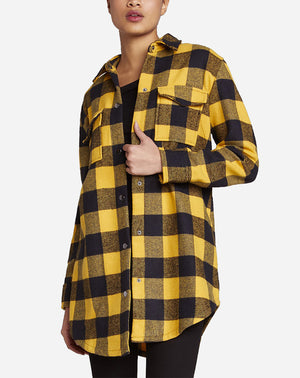 Plaid Company Coat in Royal Yellow