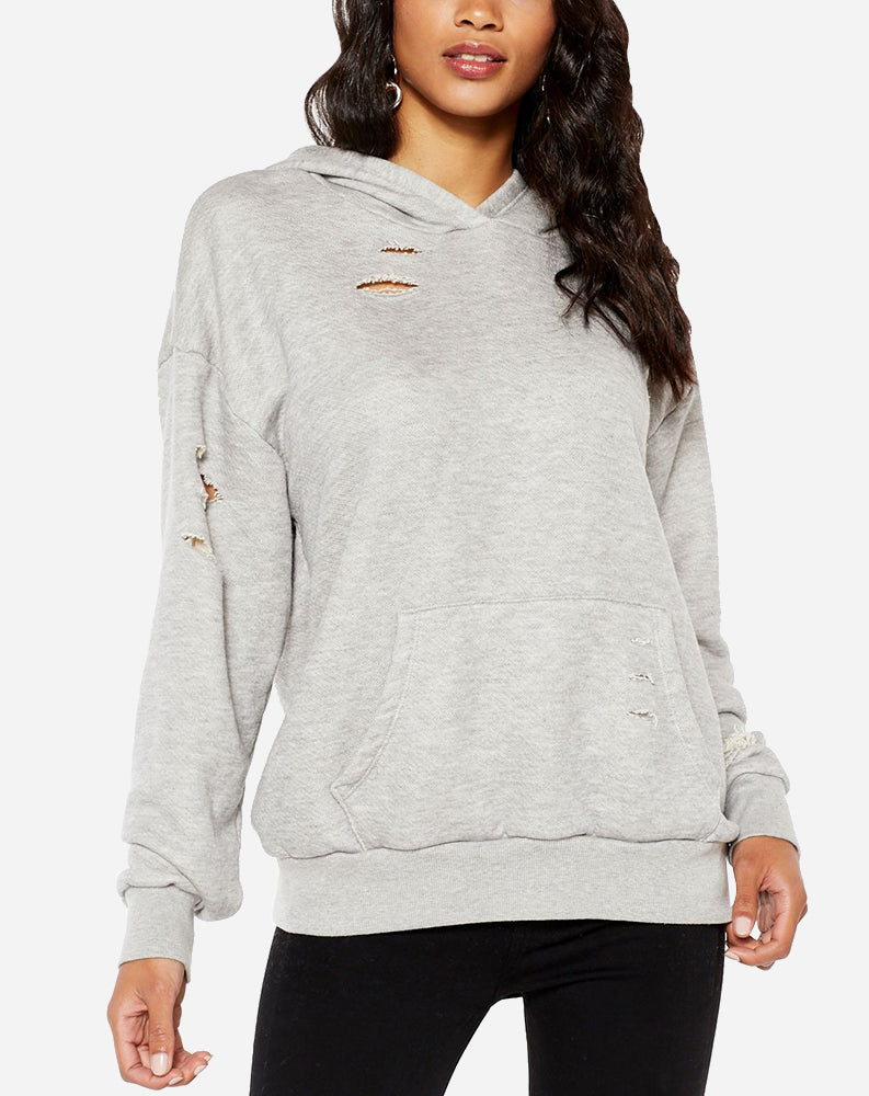 Making Moves Distressed Hoodie in Heather Grey