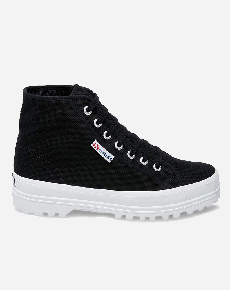 High Top Canvas Sneaker in Black/White
