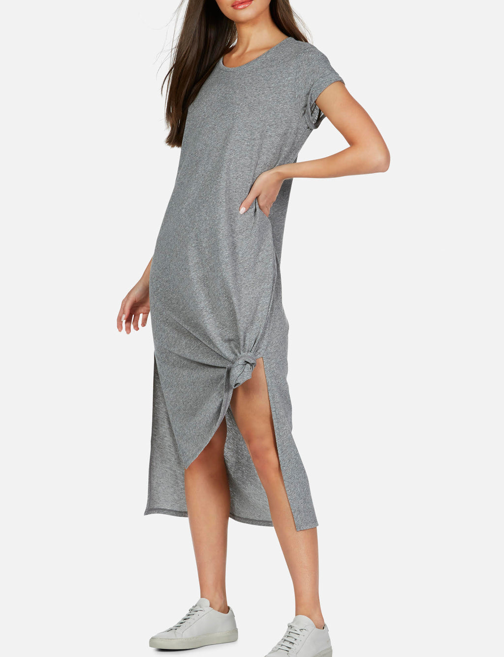 Augustus T Shirt Midi Dress in Heather Grey