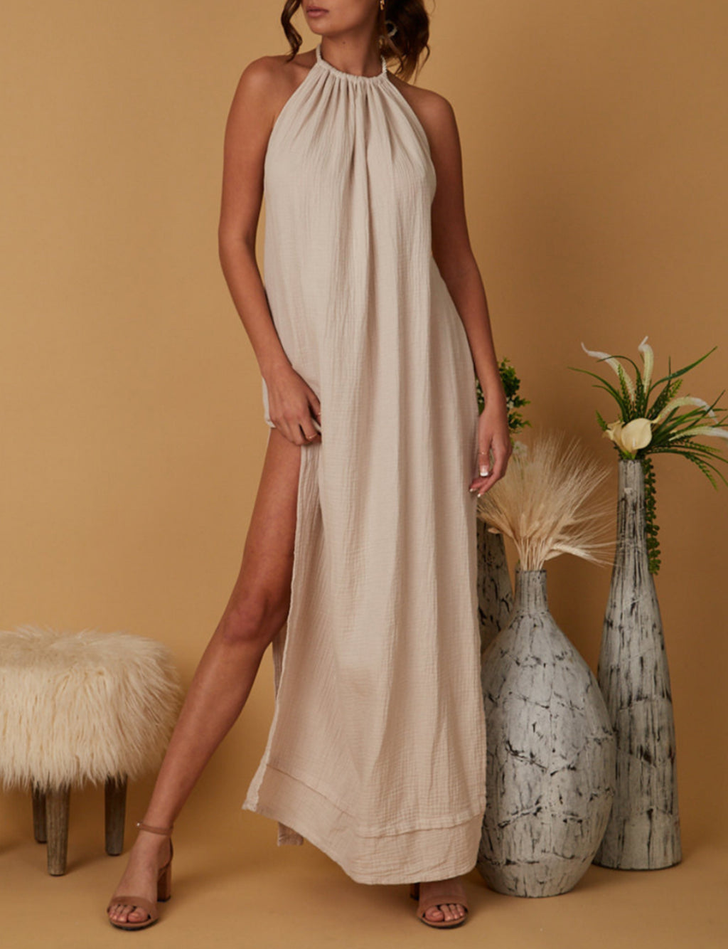 Rose Halter Maxi Dress in Beige
