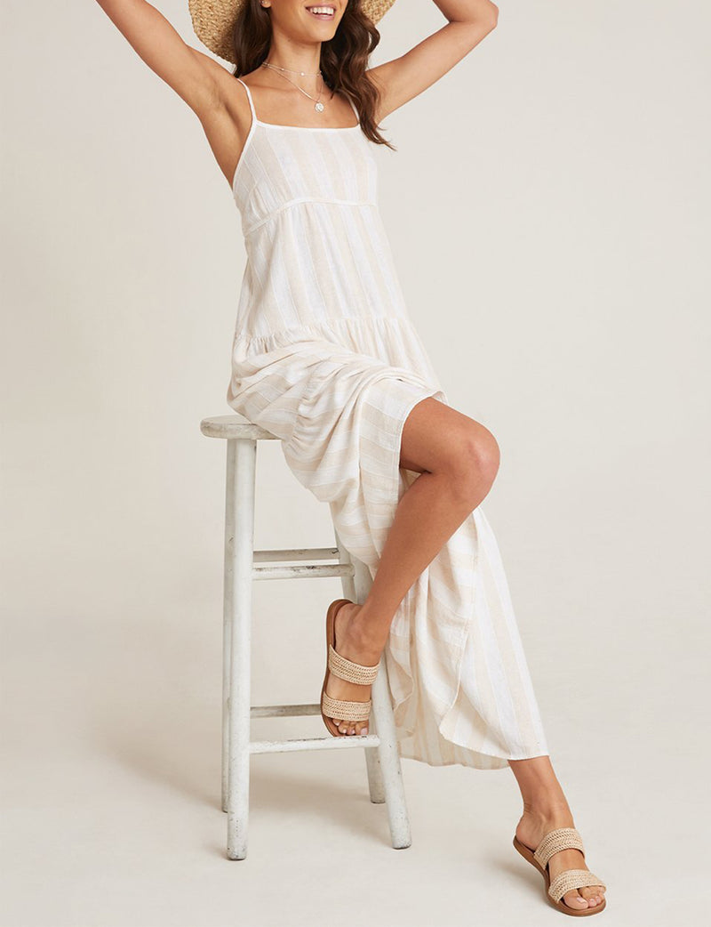 Tiered Tie Back Maxi Dress in Bermuda Sand