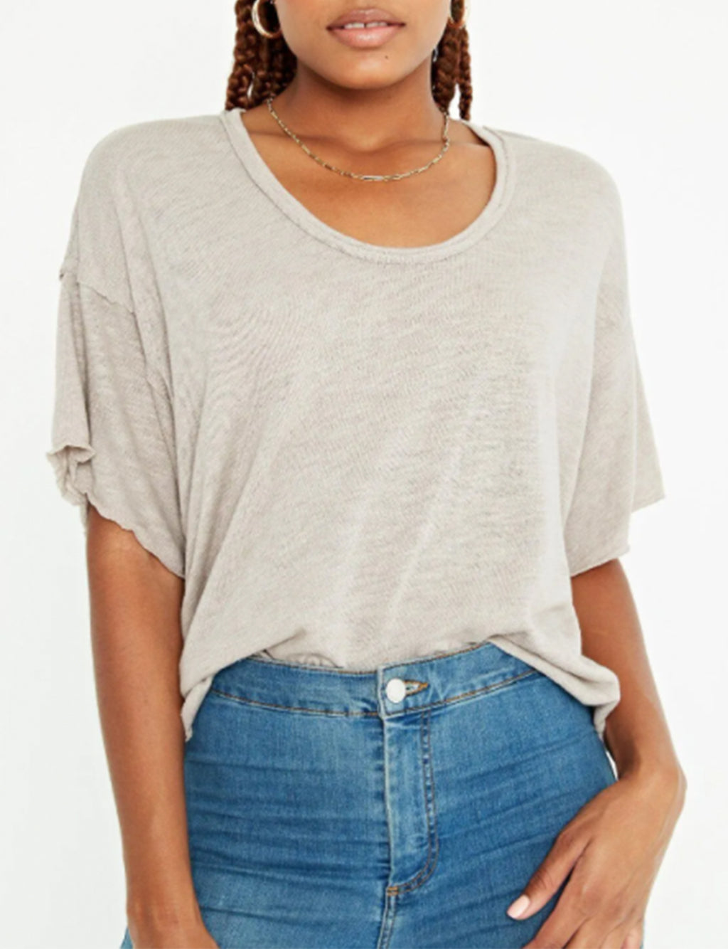 Moments Textured Tee in Almond Latte