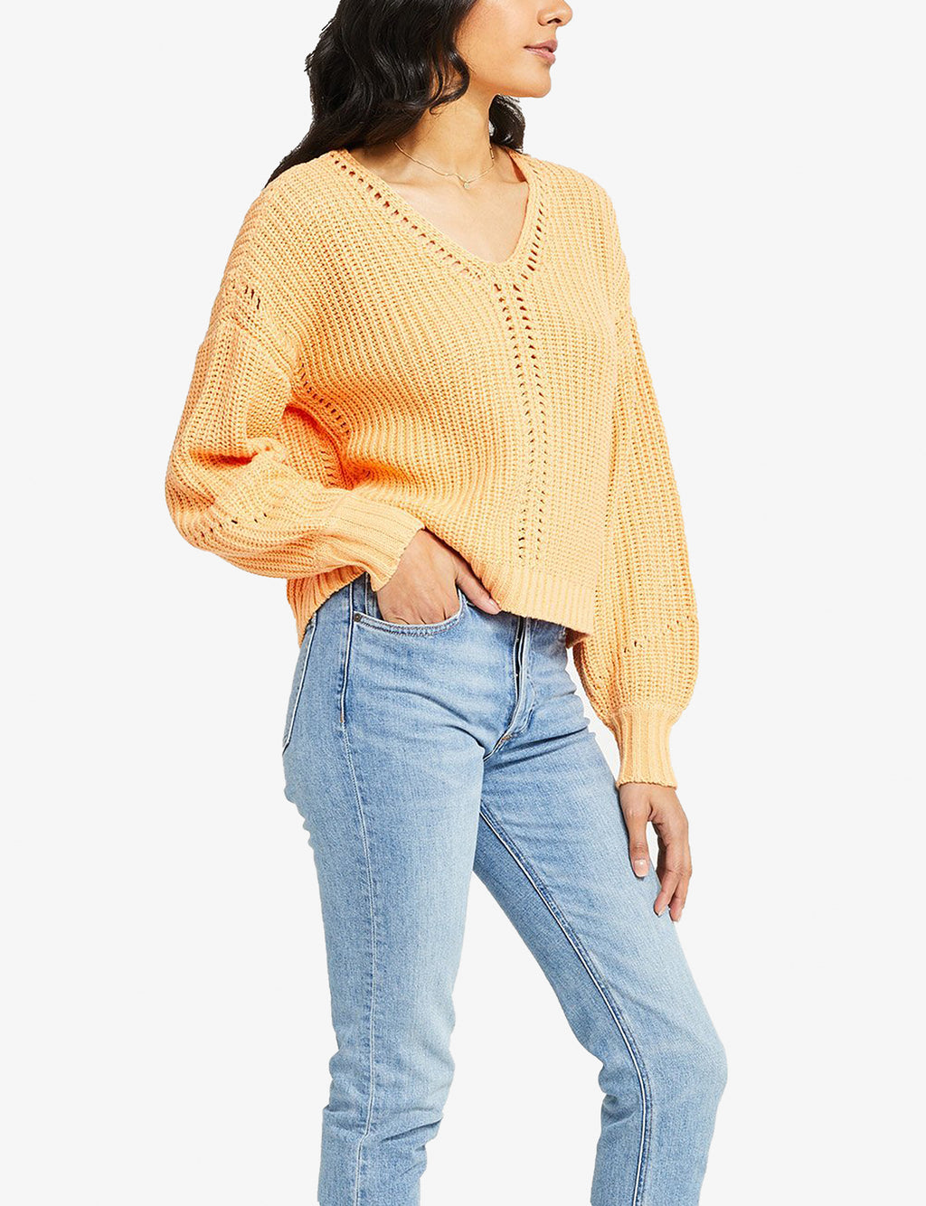 Arizona V Neck Sweater in Sherbert