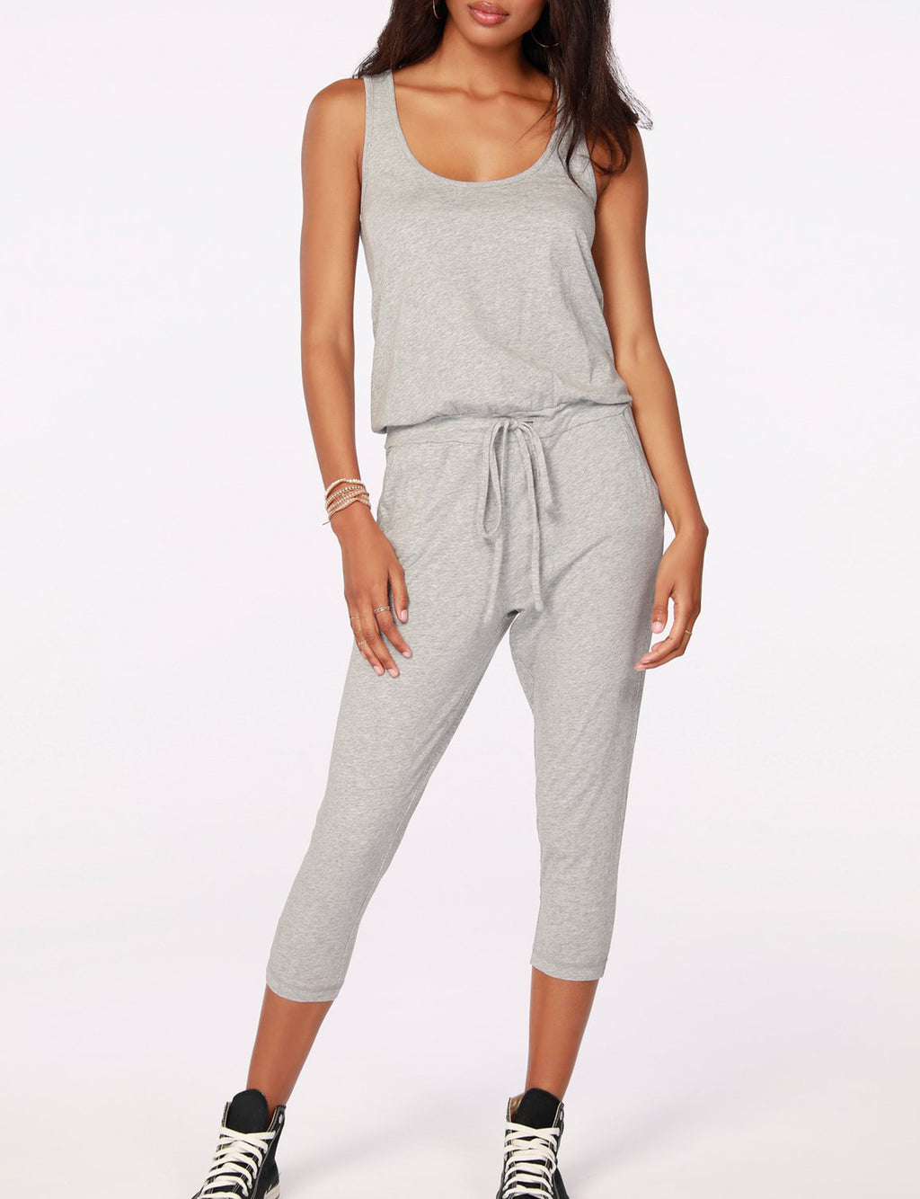 Racerback Jumpsuit in Heather Grey