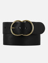 Amsterdam Heritage Ginette Double Ring Buckle (Brass) Wide Leather Belt, Black