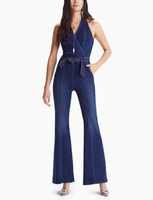 Mother Denim The Halter Droozy Jumpsuit in Home Movies