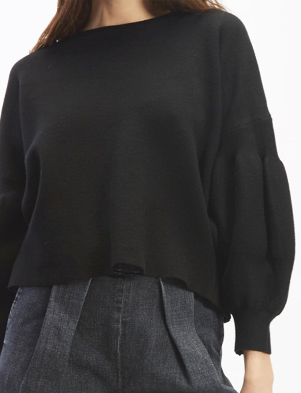 OAT Balloon Sleeve Sweater in Black