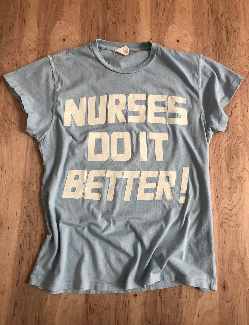 Madeworn Nurses Do It Better Crew Tee in Blue Haze