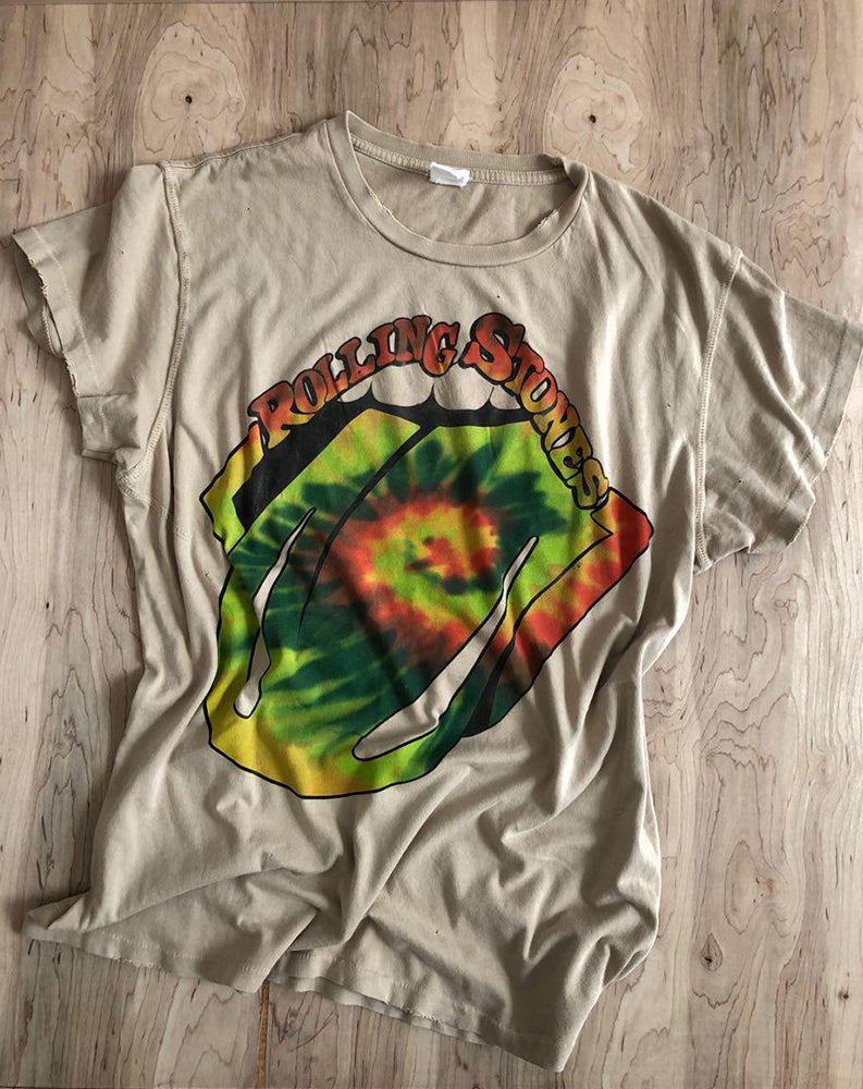 Rolling Stones Tie Dye Crew Tee in Taupe