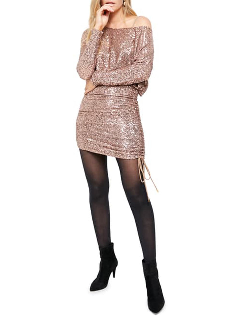 Giselle Mini Dress in Rose Gold