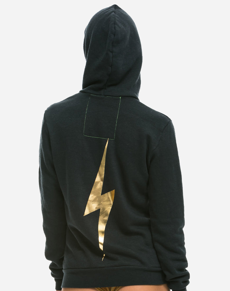 Bolt Metallic Zip Hoodie in Charcoal/Metallic Gold