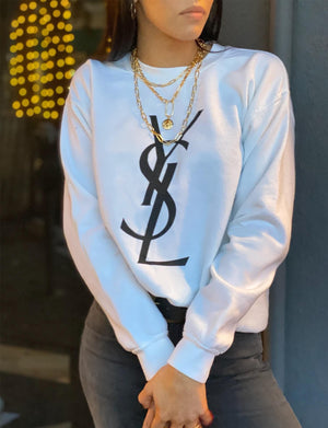 YSL Unisex Sweatshirt in White