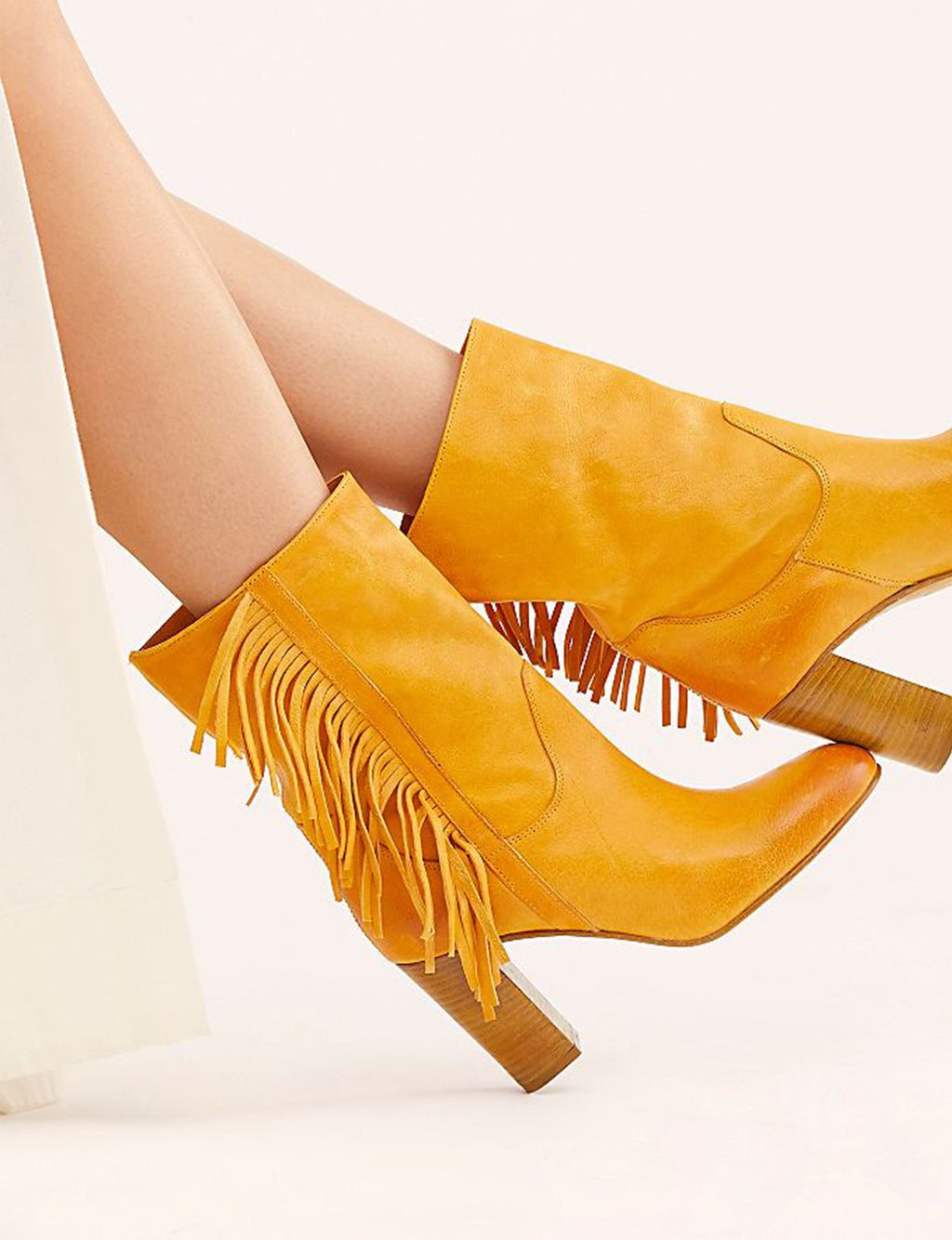 Wild Rose Slouch Fringe Boot in Golden Tan (Banana)