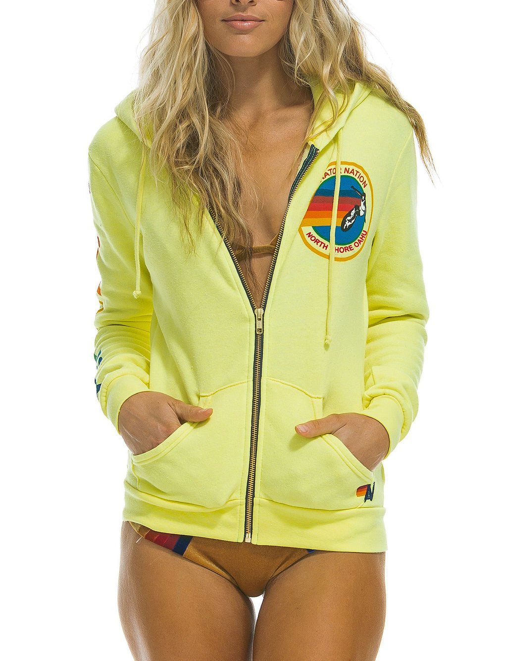 Aviator Nation Zip Hoodie in Neon Yellow