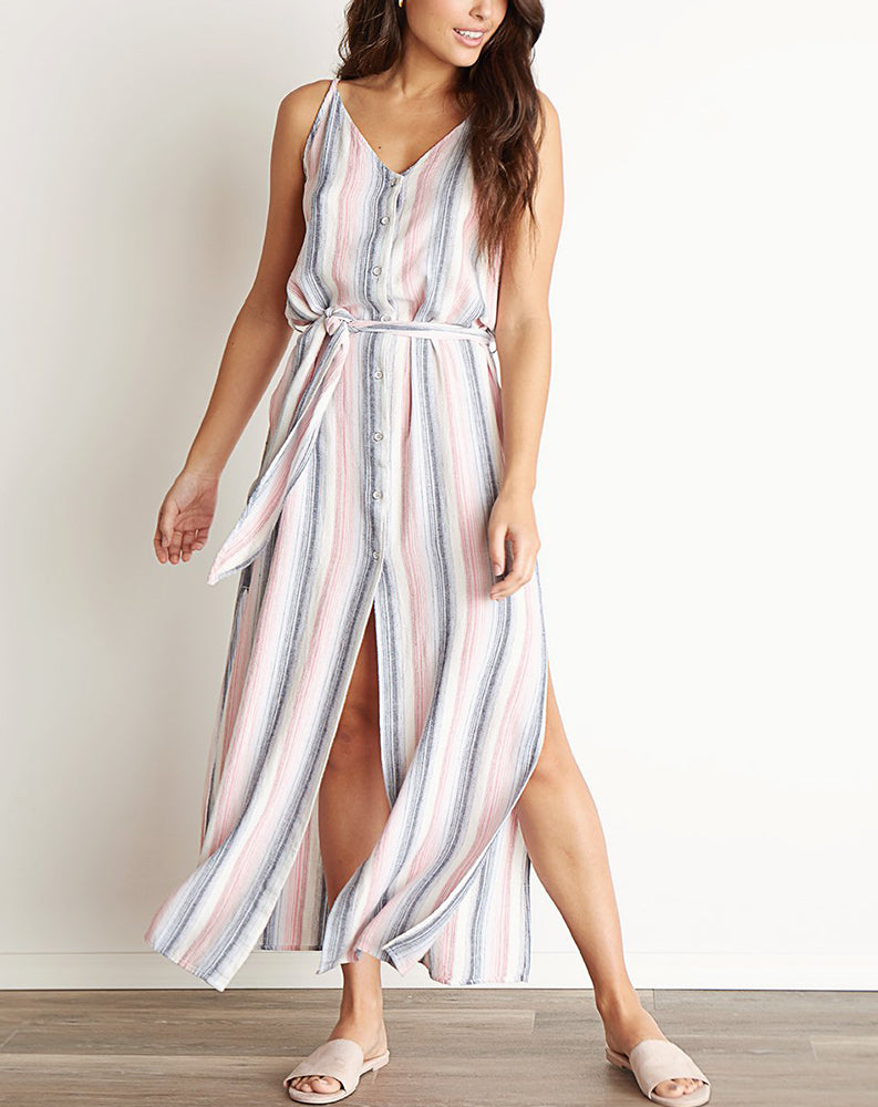 Belted Maxi Dress in Sunset Stripe