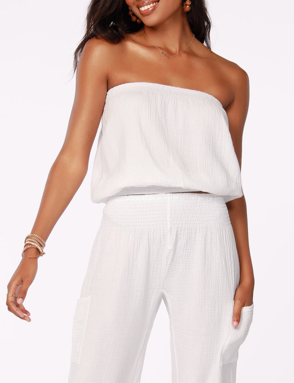 Strapless Blouse in White