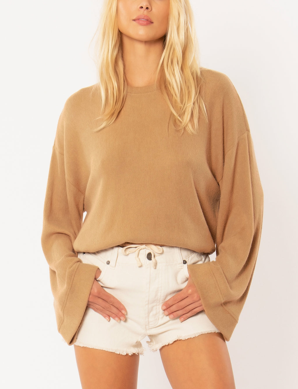 Amuse Society Cosi L/S Knit Fleece Top in Mocha