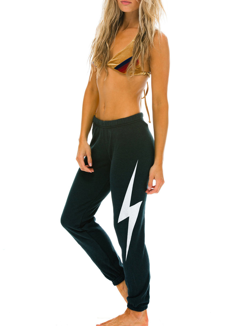 Bolt Womens Sweatpants in Charcoal/White