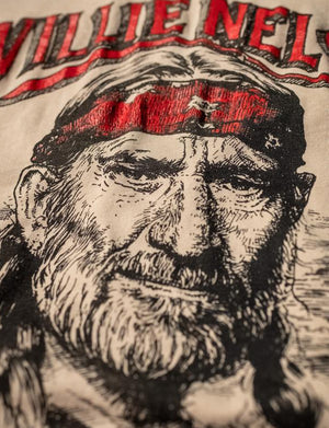 Willie Nelson Rolling Smoke Crew Tee in Taupe