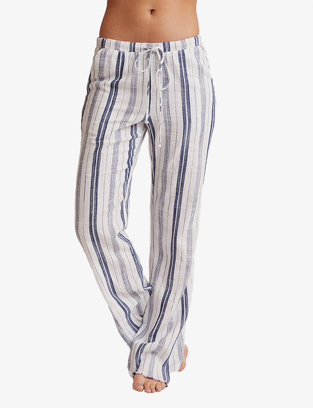 Bella Dahl Wide Leg Frayed Hem Pant in White/Navy Stripe