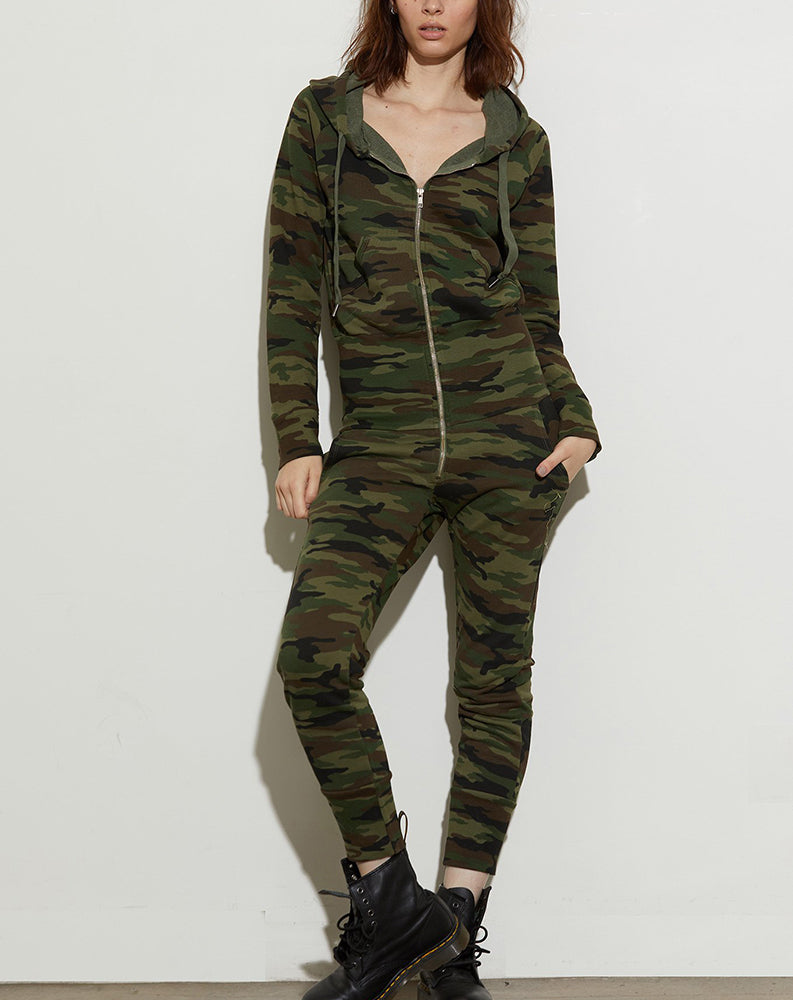 Stasia Sweat Jumpsuit in Deep Olive Camo