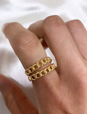 Bracha Lexi Chain Ring in 14K Gold Plate